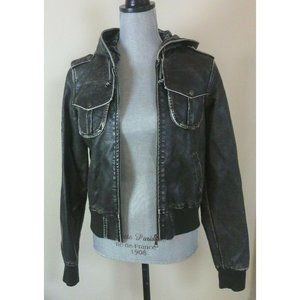 DNA Couture Vegan Faux Distressed Leather Jacket